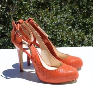 INC Lucey Orange Closed Toe Ankle Heels 8.5